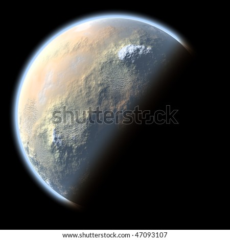 Planet with arid climate on black background