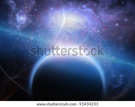 Planet with nebulos filaments
