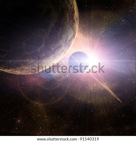 planet with rings at sunrise on the background of the cosmos