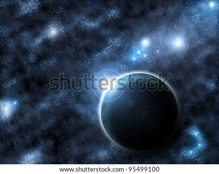 planet with rising star and space background