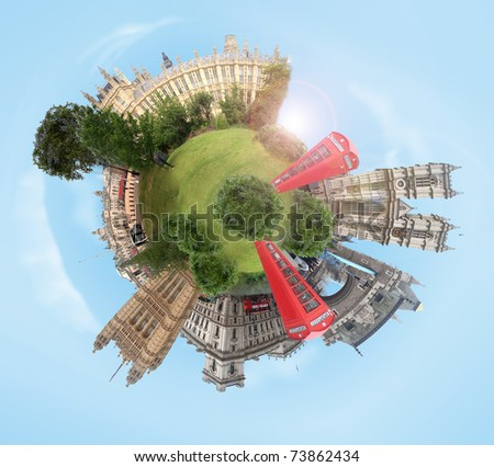 planet with several references to London - stock photo