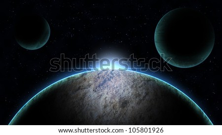 Planet  with sunrise in the space illustration