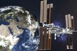 Planetary station satelite near Planet Earth of Solar system in outer space. Planetary concept. Science fiction. Elements of this image were furnished by NASA.