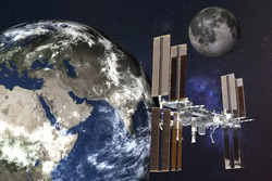 Planetary station satelite near Planet Earth with moon of Solar system in outer space. Planetary concept. Science fiction. Elements of this image were furnished by NASA.