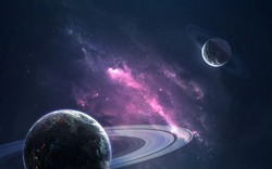 Planets and clouds of star dust . Deep space image, science fiction fantasy in high resolution ideal for wallpaper and print. Elements of this image furnished by NASA