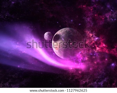 Planets and galaxy, science fiction wallpaper. Beauty of deep space. Billions of galaxy in the universe Cosmic art background #1127962625