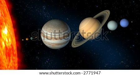 Planets and sun from our solar system. Digital illustration. - stock photo