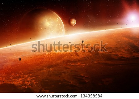 planets at sunrise in outer space.