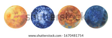 Planets illustration.Abstract watercolor planet planet balls hand drawn magic artwork illustration. Set of watercolor colorful planets isolated on white background.