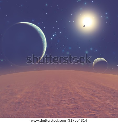 Planets in a distant stellar system. My astronomy work. Digital illustration.  #319804814