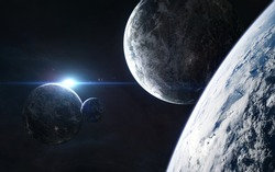 Planets in light of blue star. Beautiful deep space. Science fiction. Elements of this image furnished by NASA