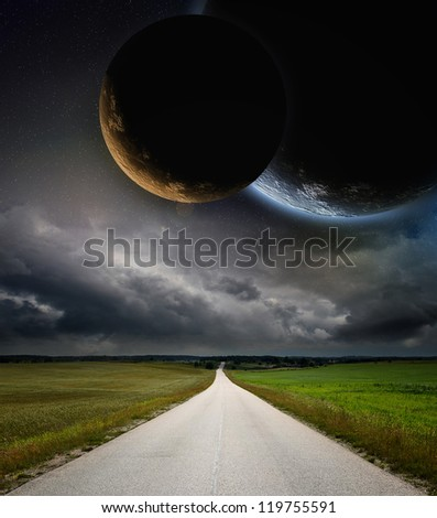 Planets in space and road