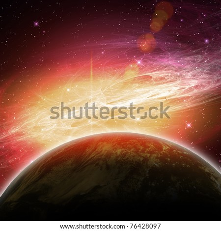 planets in the space and stars with galaxes