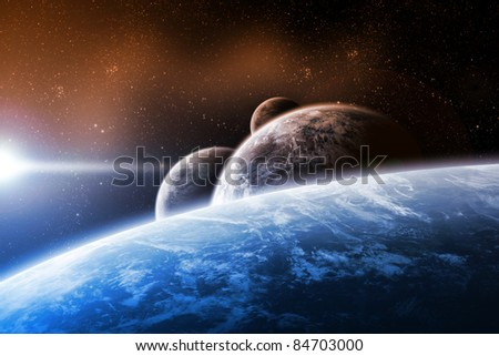 Planets landscape - stock photo