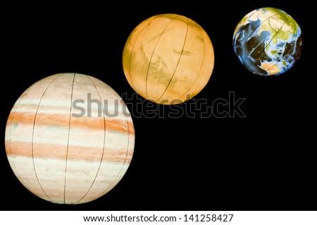 Planets of Solar System: earth, mars, jupiter