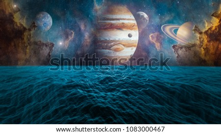 Planets of Solar system Jupiter, Mercury, Saturn, Venus and ocean with big waves. Surrealistic and fantastic 3D rendering. Clouds, stars, Orion nebula, sea, waves.