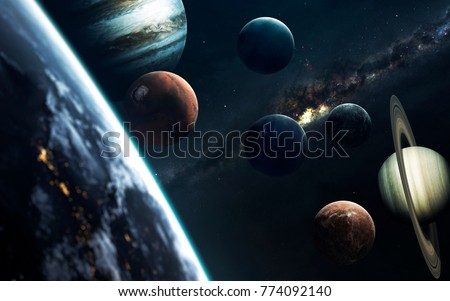 Planets of Solar system, Mars, Earth, Jupiter and others. Elements of this image furnished by NASA #774092140