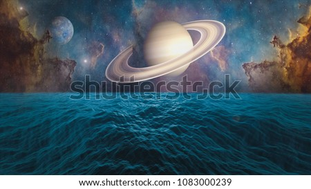 Planets of Solar system Mercury, Saturn and ocean with big waves. Surrealistic and fantastic 3D rendering. Clouds, stars, Orion nebula, sea, waves.