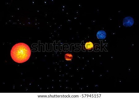 Planets of the solar system against the starry background