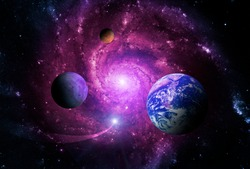 Planets of the solar system are attracted by the center of the galaxy and a massive black hole. Elements of this image furnished by NASA.