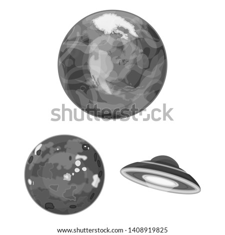 Planets of the solar system monochrome icons in set collection for design. Cosmos and astronomy bitmap symbol stock web illustration.