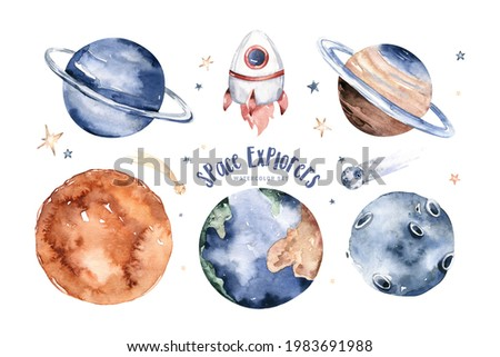 Planets of the Solar System watercolour poster set. Watercolor planet Sun, Moon and Mercury, Venus and Earth, Mars and Jupiter, Saturn, Uranus and Neptune. universe space. Galaxy art.