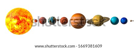 Planets of the solar system with Pluto, 3D rendering isolated on white background. Elements of this image furnished by NASA