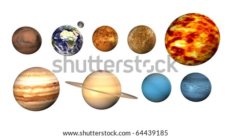 Planets on white background
