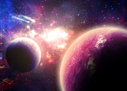Planets Over a Glowing Nebula - Elements of this image furnished by NASA
