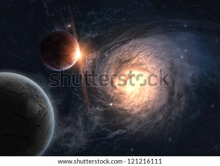 Planets over the galaxy in space