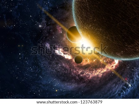 planets over the nebulae in...