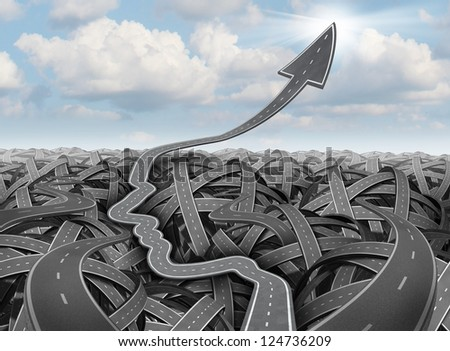 Planning and success strategy as tangled confused three dimensional group of roads and highways and a clear path in the shape of a human head as a detour past the confusion going up into an arrow.