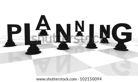 planning Chess 3D font black white