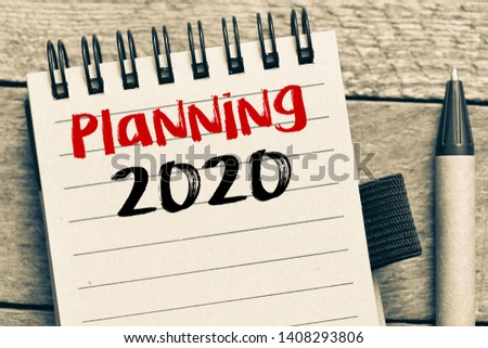 Planning 2020 Handwriting text planing 2020 - business concept