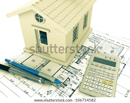 Planning home: blueprint, pencil and calculator. 3D rendering