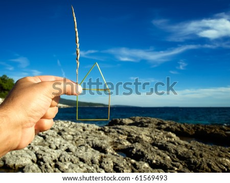 Planning of the construction of a house on the coast , House outline is  made of grass straw.