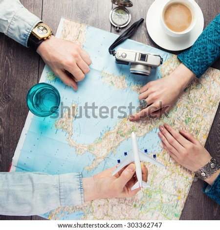 planning vacation trip with map. Top view. Instagram style photo. romantic getaway - Shutterstock ID 303362747