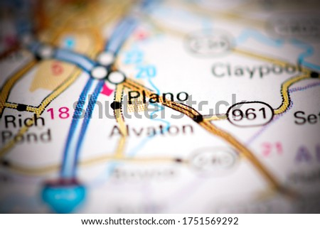 Plano. Kentucky. USA on a geography map Foto stock ©