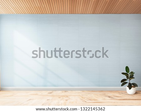 Plant against a blue wall mockup
