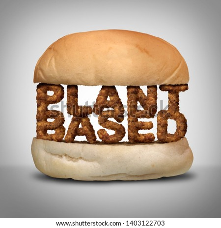 Plant based burger as fake meat or vegan hamburger representing a vegetarian protien in a 3D illustration style. Foto stock ©