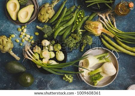 Plant based diet plan vegetables food menu green vegetables background