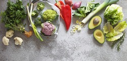 Plant based raw food seasonal vegetables background. Vegetarian, vegan food cooking ingredients. Flat-lay, copy space