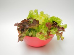 Plant green salad and darn decay in pink cups, white cup background, consenp health