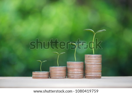 Plant growing up on the growing coin stack with nature background for business and finance concept #1080419759