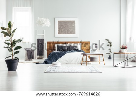 Plant in black pot in spacious white bedroom interior with bed with wooden bedhead against a wall with silver painting #769614826