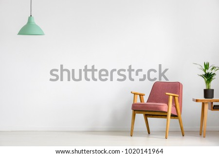 Plant on wooden table next to pink vintage armchair against white wall with copy space in room with green lamp #1020141964