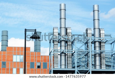 Plant or factory concept, modern industrial landscape, metal chimney, producing goods idea, industry visualization