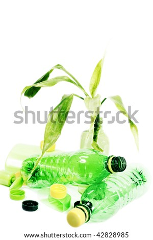Plant with garbage isolated on white background