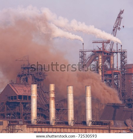 Plant with smoke Air pollution