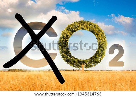 Planting more trees reduce CO2 - reduction of the amount of CO2 emissions - concept with removing letter C from CO2 to get oxygen.  Stock photo ©